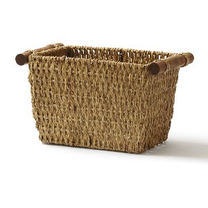 Basket- Woven With Wood Handles