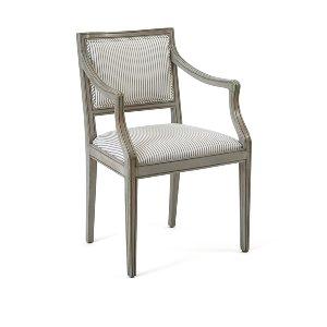 James- Gray & White Ticking Armchair