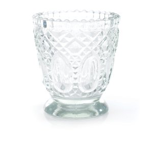 Clear Beaded Pressed Glass Votive