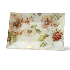 Floral Glass Tray