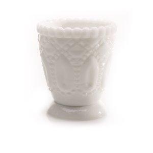 White Beaded Pressed Glass Votive