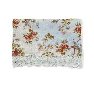 Blue Heirloom Rose Floral Linen Runner