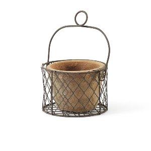 Medium Clay Pot In Wire Basket