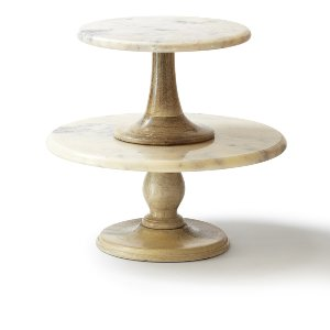 Large Marble & Wood Cake Stand