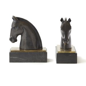 Marble Horse Book Ends
