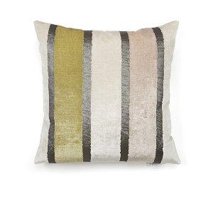 Ivory/Gray/Blush Velvet Stripe Cushion