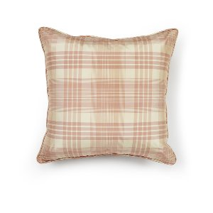 Blush/Ivory Plaid Silk Cushion