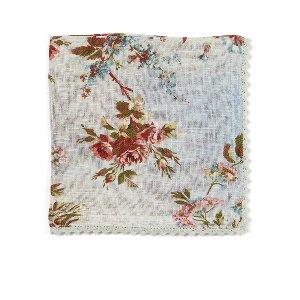 Blue Heirloom Rose   Linen Napkin