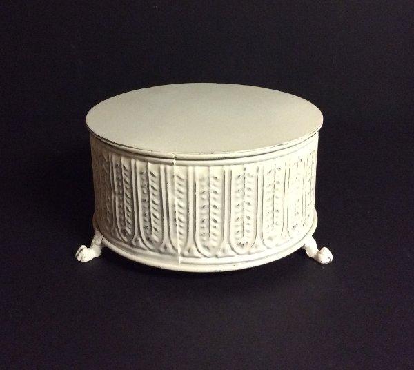 "Small White Metal Cake Stand 8"""