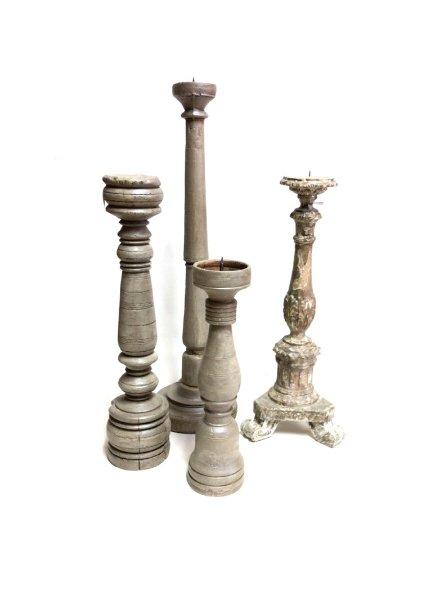 Large Distressed Grey Candlestick Set