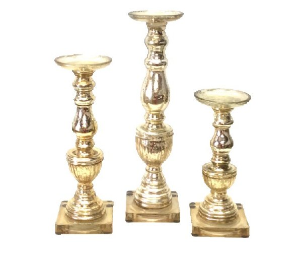 Mercury Glass Square Candlestick Set