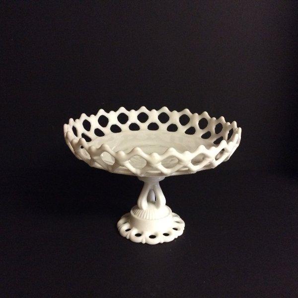 "Milk Glass Basket 8"""