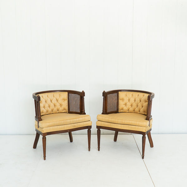 Yellow Rounded Back Mid Century Cane Chair