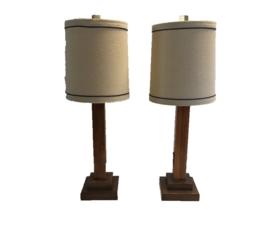 Mid Century Wood Lamp Set