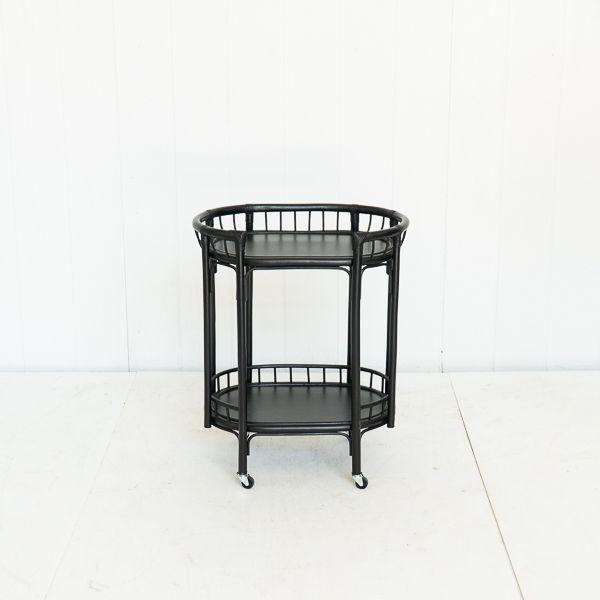 Black Rattan Matte Bar Cart