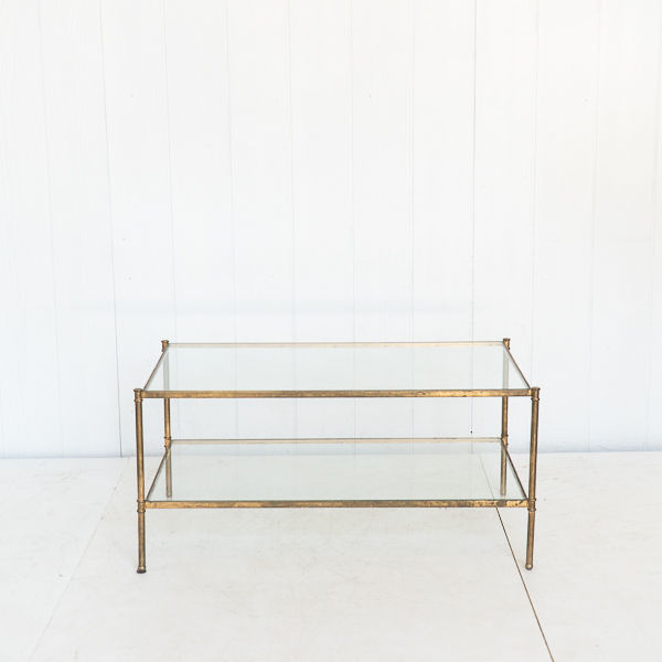 Brass and Glass Rectangular Coffee Table