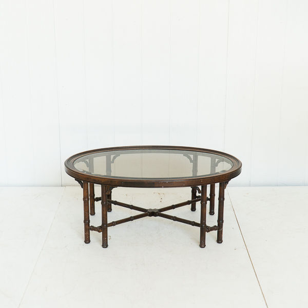 Bamboo Glass Top Table 70's Style