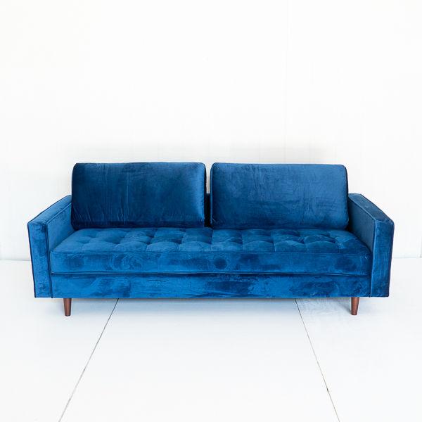 Cobalt Blue Velvet Tufted Sofa