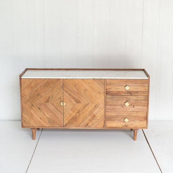 Marble and Walnut Modern Buffet With Brass Detail