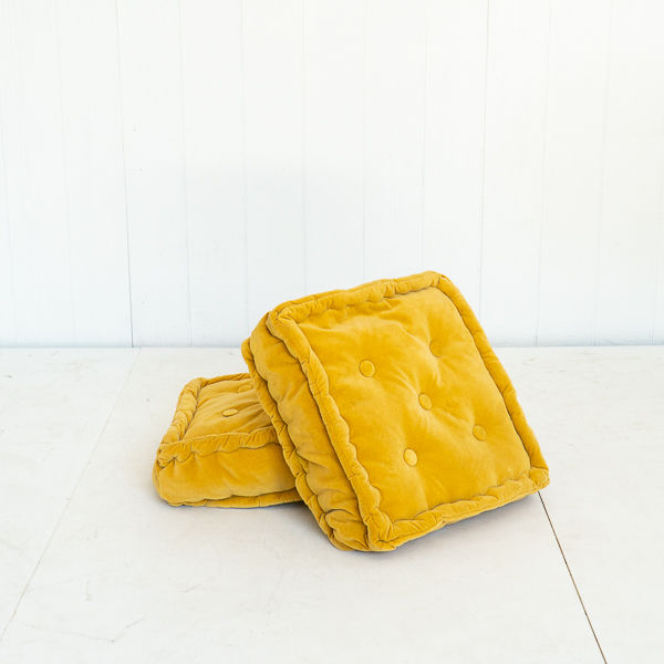 Gold Saffron Yellow Floor Cushion with Tufted Seat