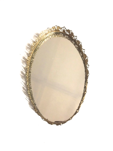 Gold Floral Tray Mirror
