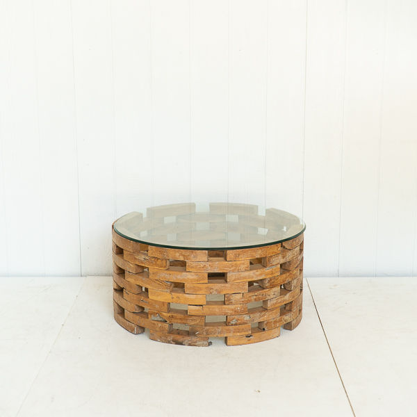 Stacked Wood Coffee Table With Glass Top