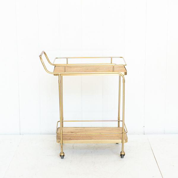 Brass and Wood Modern Bar Cart