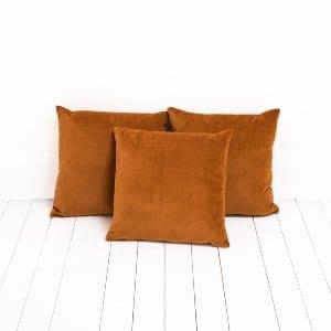 Burnt Orange Velvet Pillows