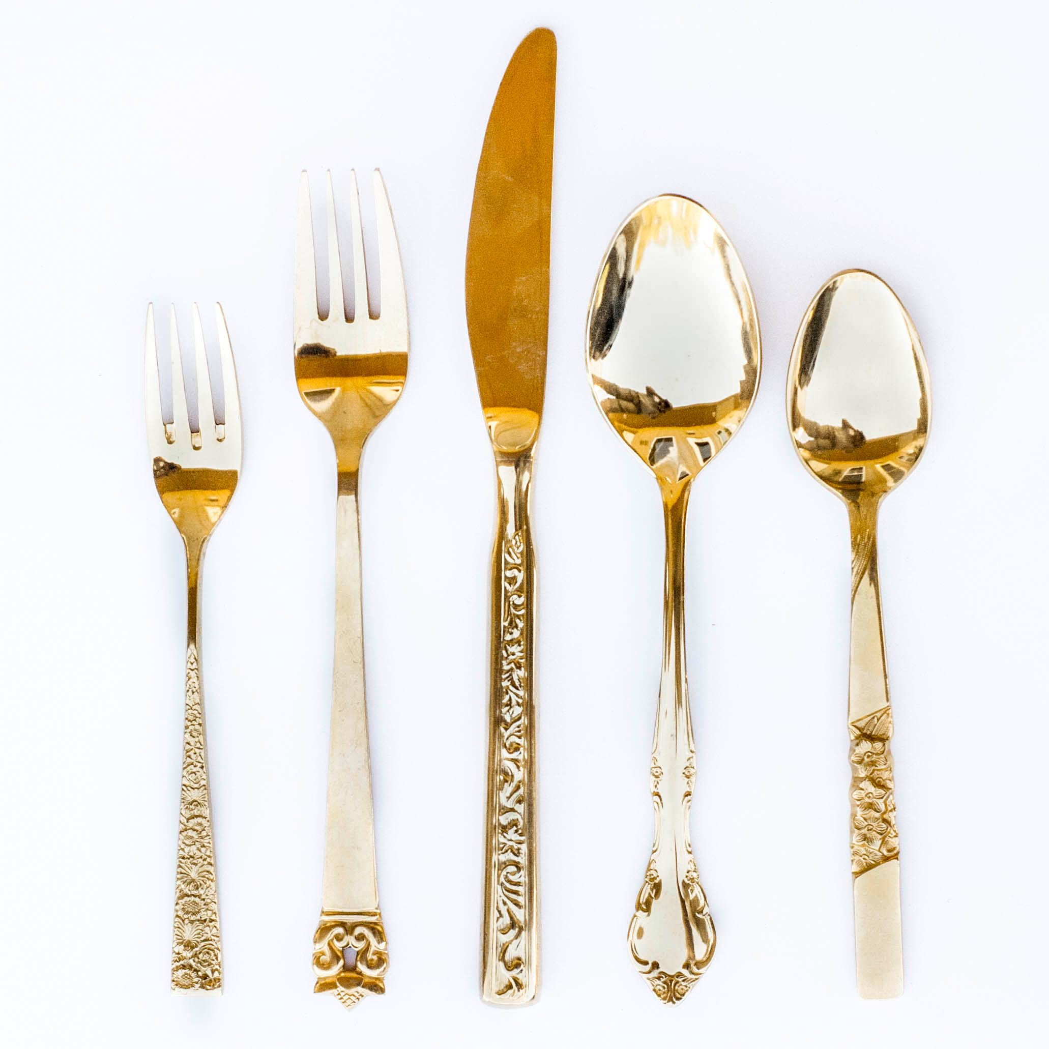 Mismatched Gold Flatware