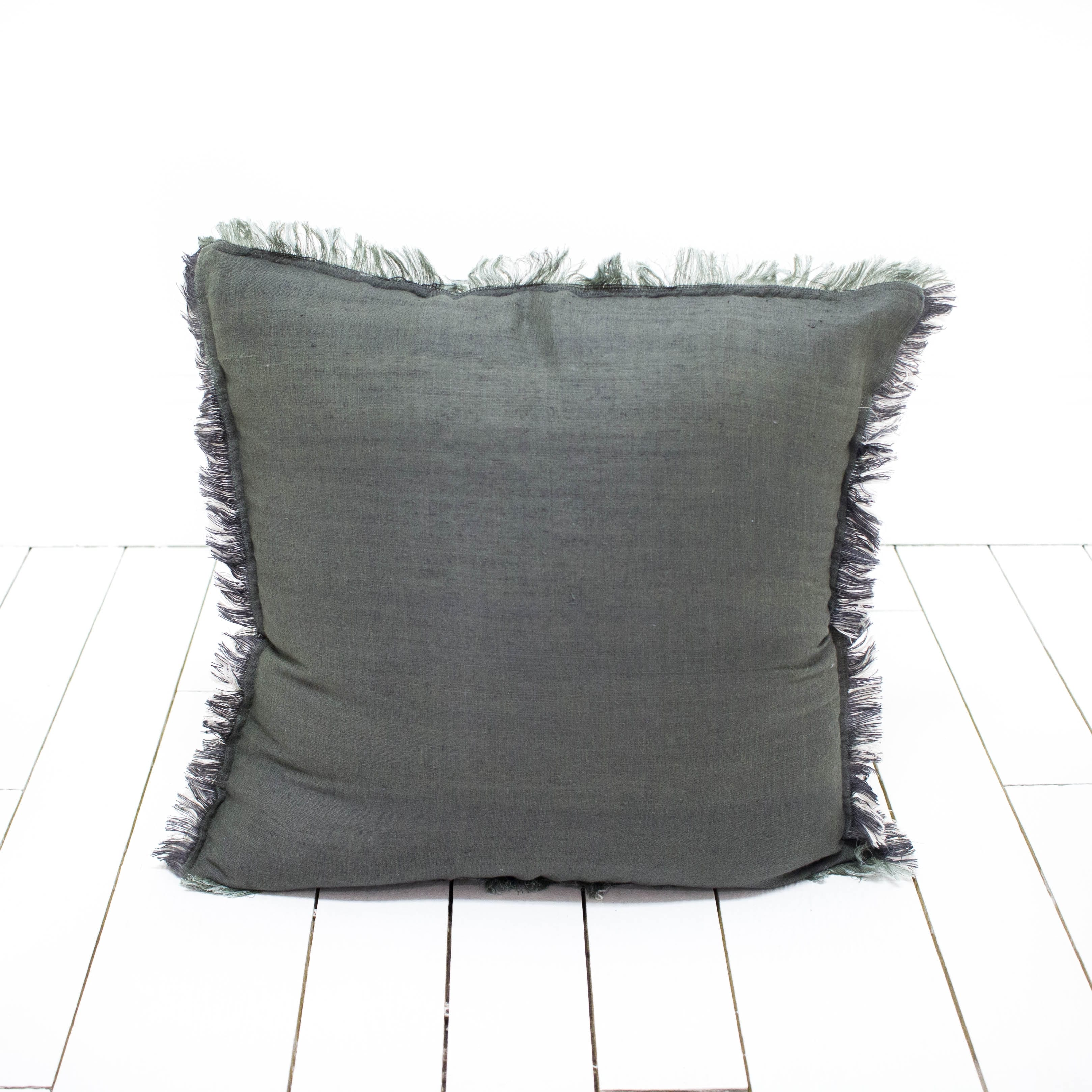 Charcoal Fringed Pillows