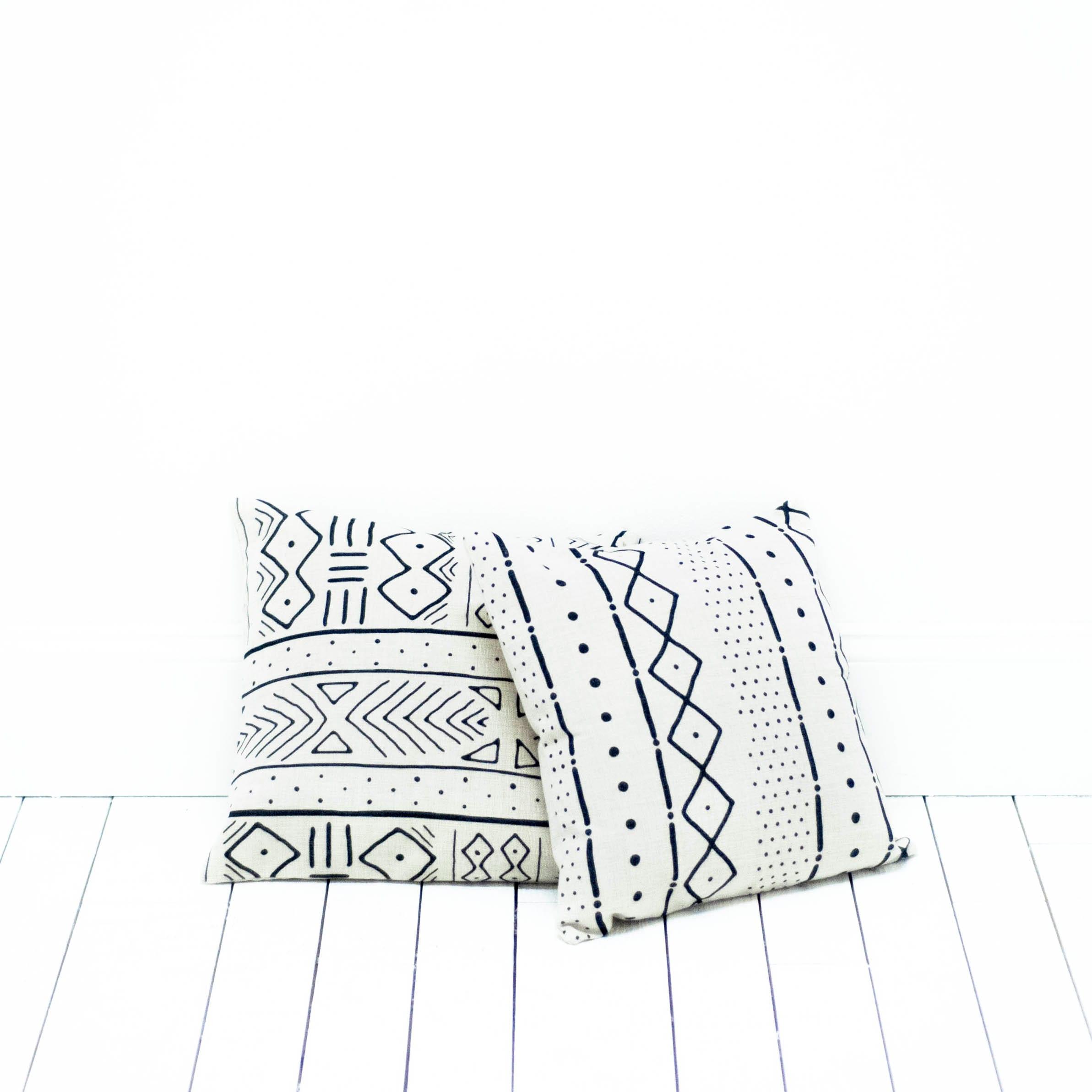 White Mudcloth Pillows