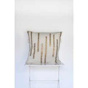 Ivory and Gold Metallic Vine Pillow