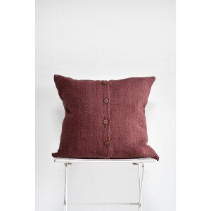 Burgandy Wood Button Pillow