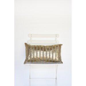 Gold Metallic Horizontal Stripe Lumbar Pillow