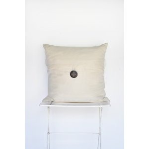 Ivory Linen Pillow with Button