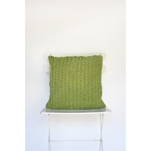 Green Tucked Stitched Pillow