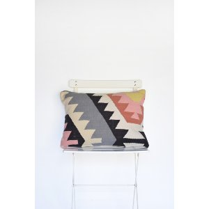 White, Black and Pink Geometric Pillow