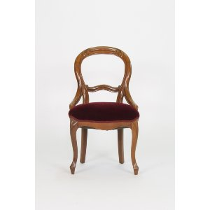 Red Velvet Oval Back Chair