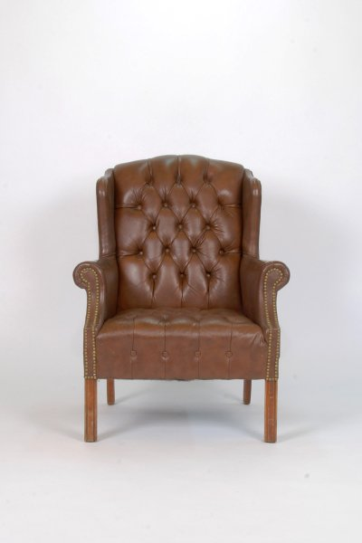 Brown Leather Tufted
