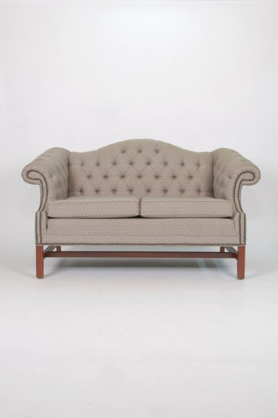 Grey Tufted Loveseat