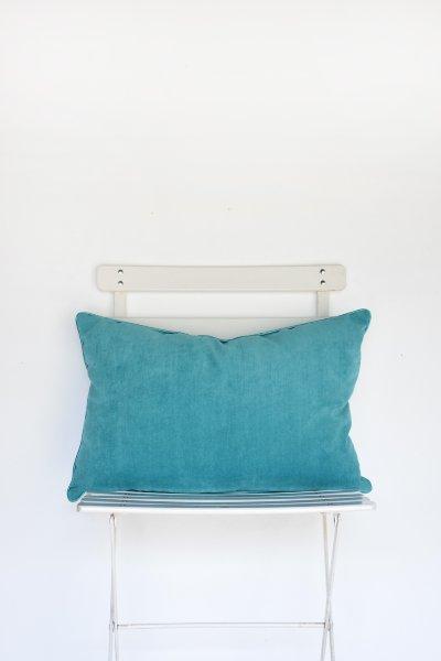 Teal Velvet Lumbar Pillow