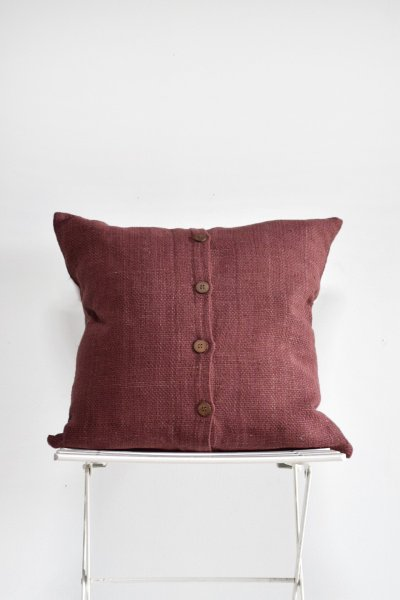 Burgandy Wood Button Pillow