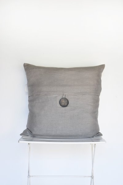 Grey Linen Button Pillow