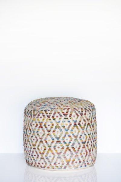Multicolor Diamond Wool Pouf