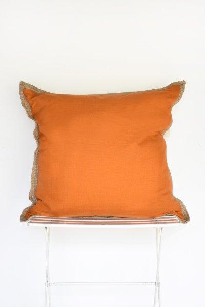 Orange Jute Trim Pillow