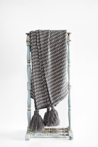 Grey Stitch Tassle Throw
