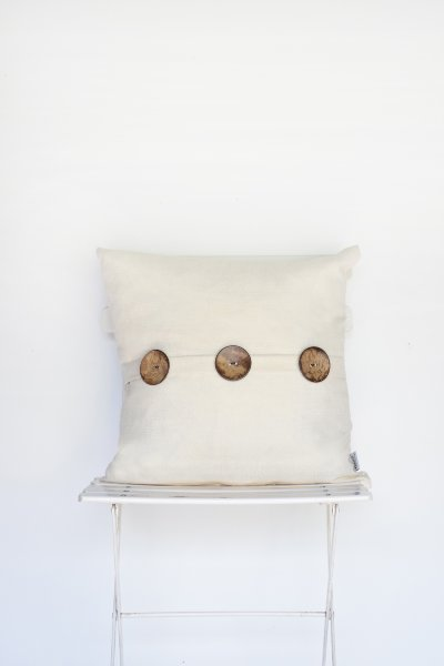 Ivory Linen 3-Button Pillow