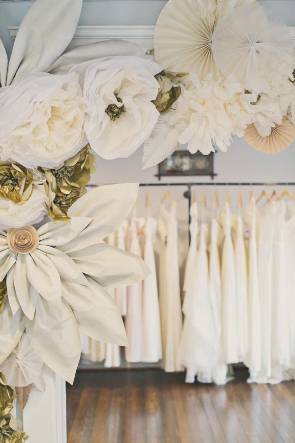 Gilded Paper Flower Installation