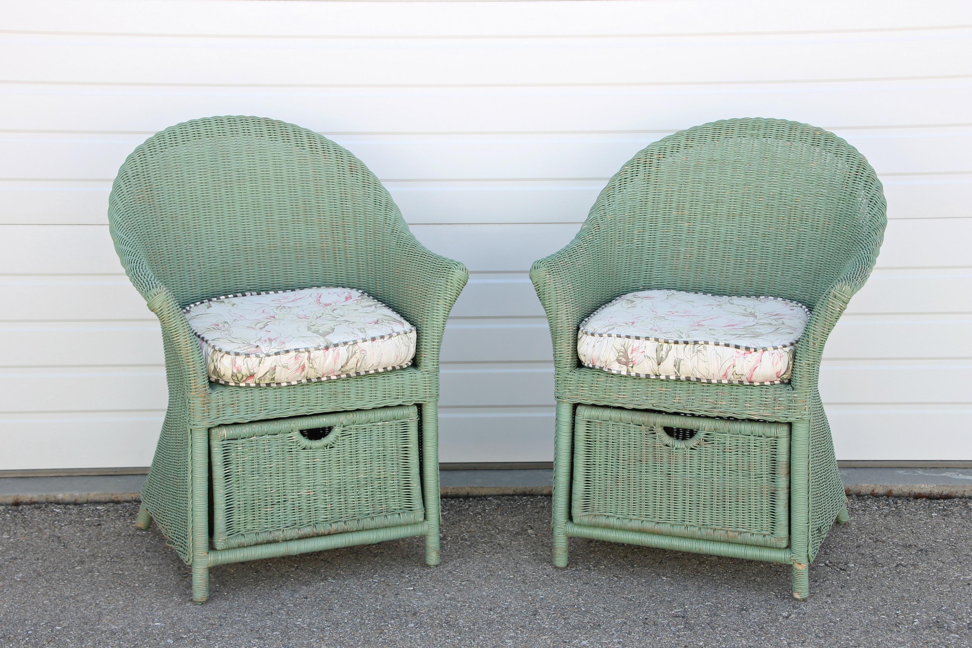Green Wicker Chairs