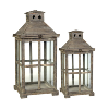 Dark Brown Wood/Glass Lantern-Large